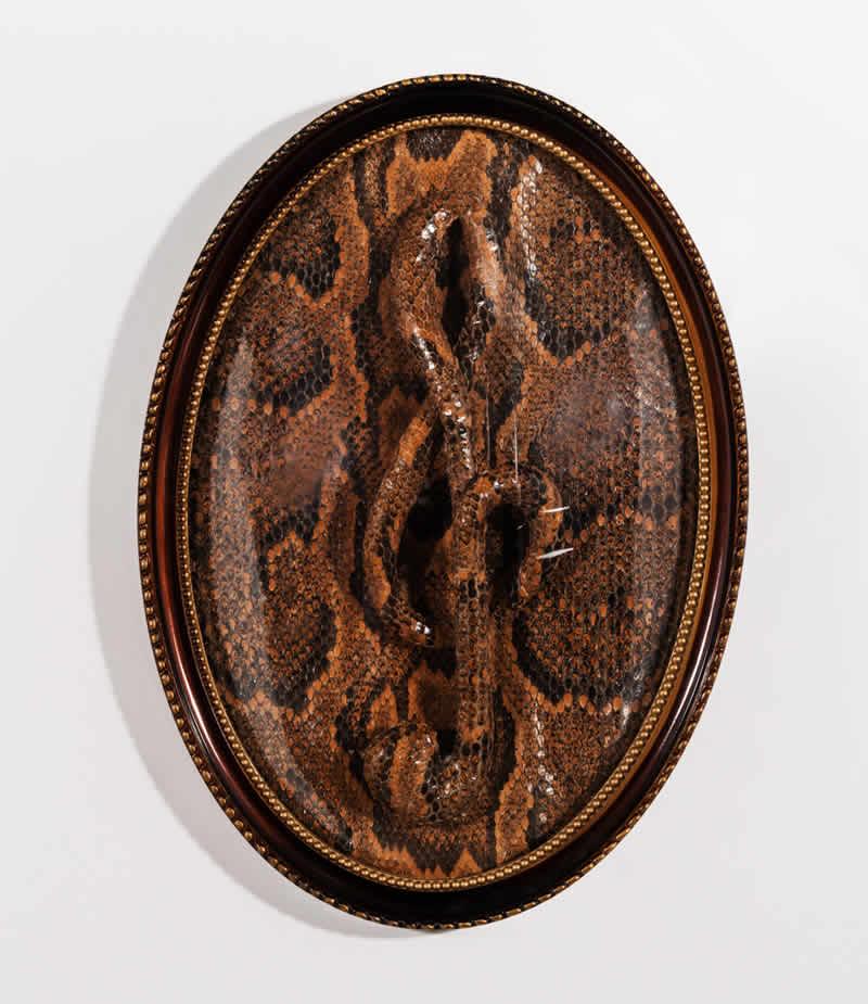Slangen sleutel 2013<div style='clear:both;width:100%;height:0px;'></div><span class='desc'>Afmetingen:  42 x 30 x 5 cm <br>Materiaal: Slangenhuid, polyester, glas, hout <br>Foto: Studio Zelden <br>Privé Collectie </span>