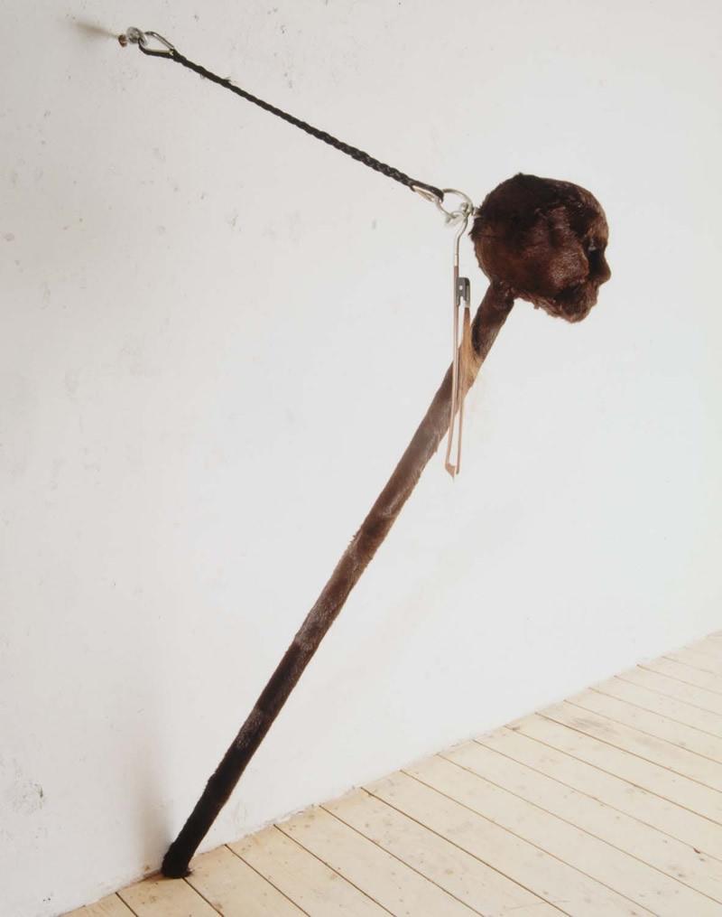 Zelfportret 2000<div style='clear:both;width:100%;height:0px;'></div><span class='desc'>Afmetingen:  135 x 30 x 50 cm <br>Materiaal: Paardenhuid en -haar, hout, rubber, mijn haar <br>Foto: Irene de Groot </span>