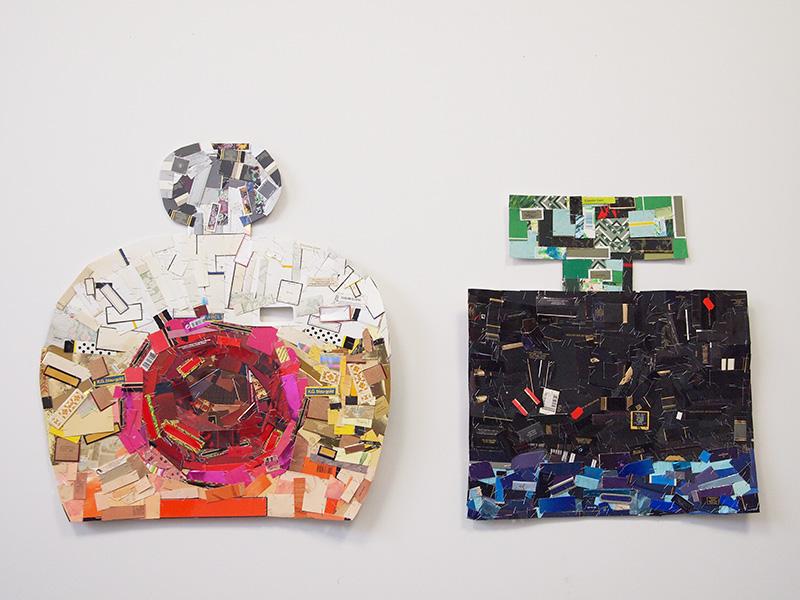 Echtpaar 2015<div style='clear:both;width:100%;height:0px;'></div><span class='desc'>Afmetingen: Dame 62 x 57 cm, Heer 54 x 50 x cm <br>Materiaal: Miniatuur parfum verpakking, nietjes <br>Residentie Sculpture Space Utica NY US</span>